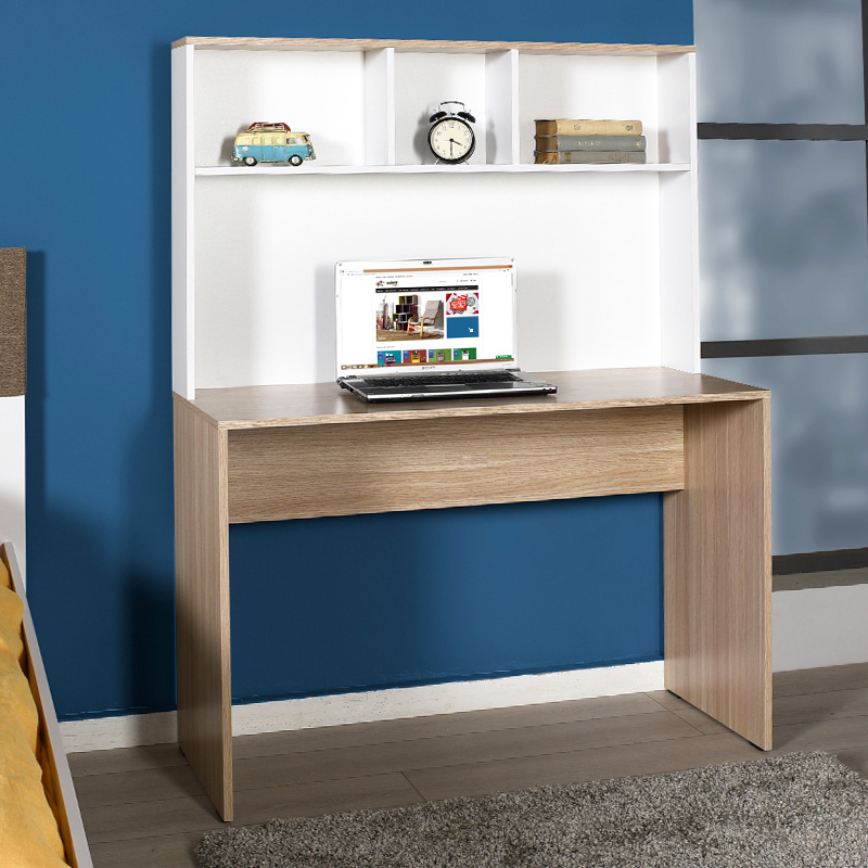 Practical desk with self pakoworld in oak-white colour 110x52x149cm