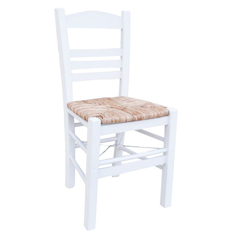 Sifnos cafe chair with white lacquer mats