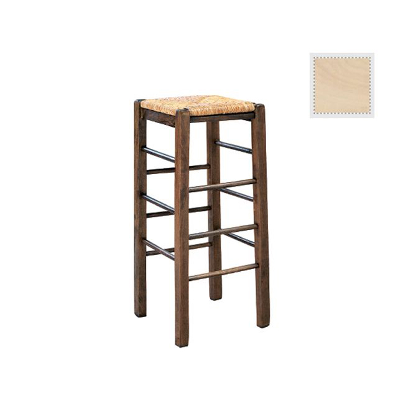 Sifnos aniline bar stool with green lacquer mats