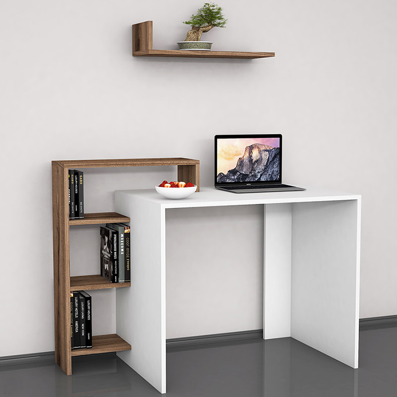 SWAN pakoworld working office table white with walnut 118x60x91cm