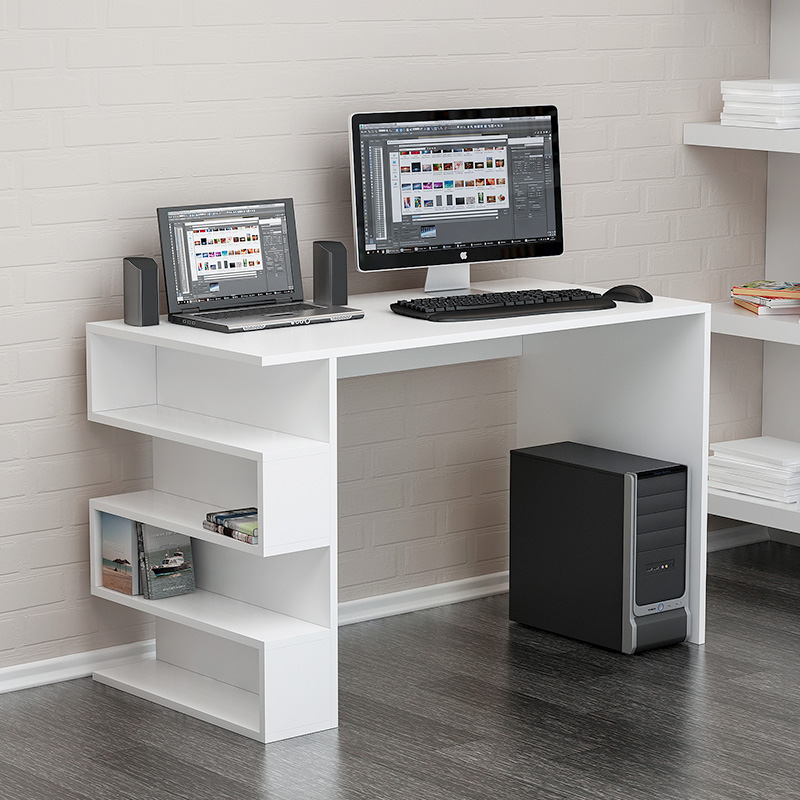 Office desk Limber pakoworld in white color 120x60x75cm