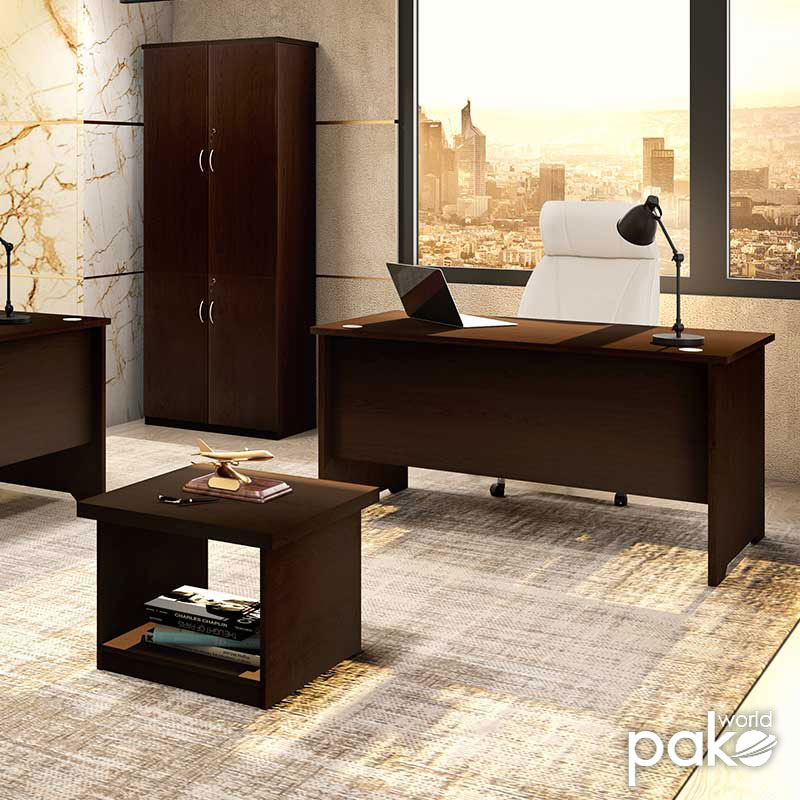 Office table without mobile drawer Amazon pakoworld walnut 150x75x75
