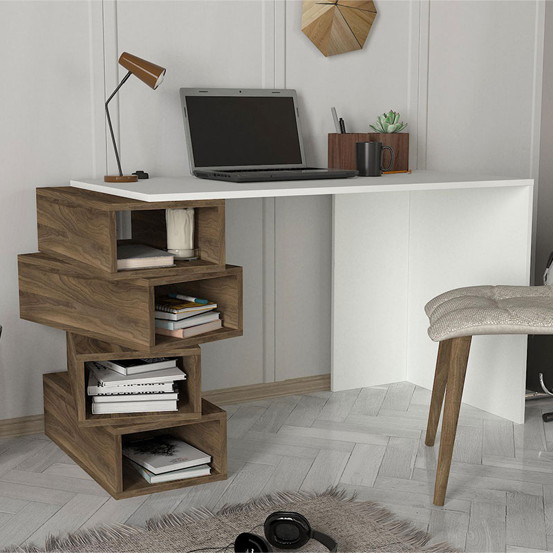 Study desk PWF-0310 pakoworld  in oak - white color 130x60x75cm