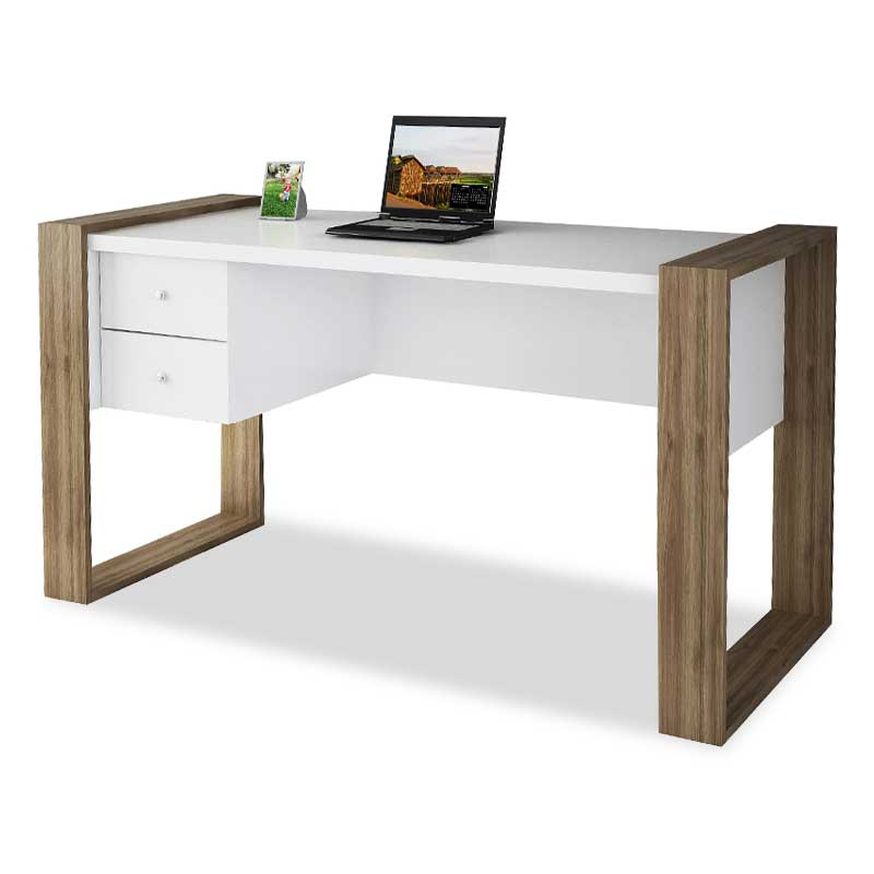Study desk PWF-0311 pakoworld in walnut - white color 140x60x75cm