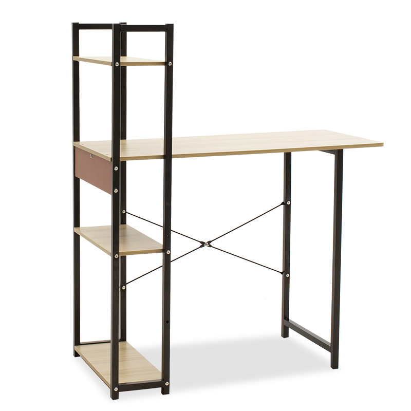 Metalic computer table Hero pakoworld MDF in maple wood-black color 90x40x72/110cm