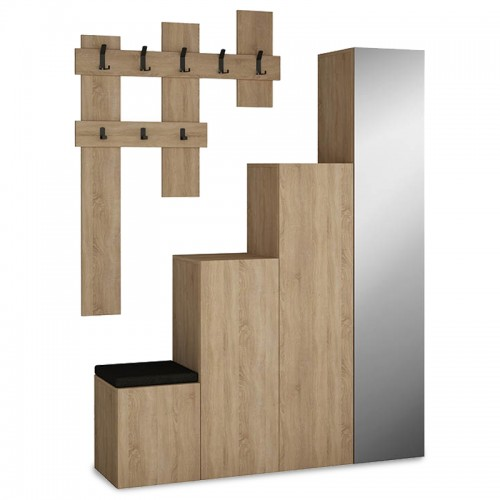 Entrance furniture-shoe cabinet Up pakoworld with mirror in natural colour  with a capacity of 10 pairs 150x37x180