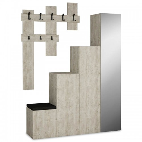 Entrance furniture-shoe cabinet Up pakoworld with mirror in antique white colour with a capacity of 10 pairs 150x37x180