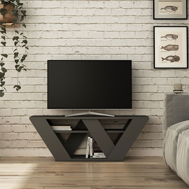 Pipralla pakoworld TV Stand in anthracite color 110x40x30cm
