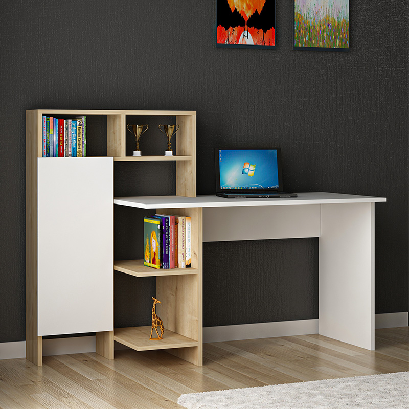 Office desk Slate pakoworld in white-oak color 120x60x112cm