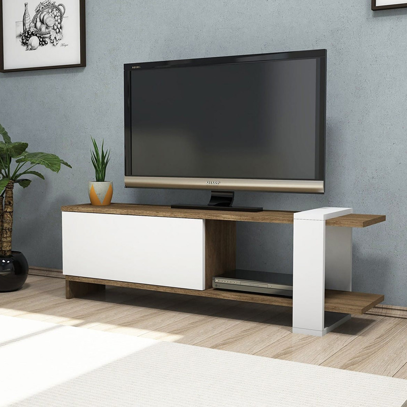 Tv stand Cave pakoworld in white-walnut color 120x25x37cm