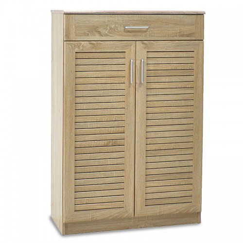 Shoe storage cabinet Sante pakoworld with 2 doors and a drawer for 20 pairs of shoes in sonoma colour 80x37x123