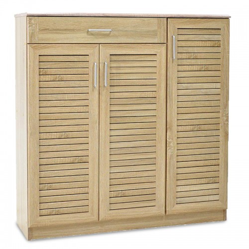 Shoe storage cabinet Sante pakoworld with 3 doors and a drawer for 30 pairs of shoes in sonoma colour 120x37x123