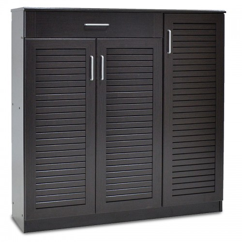 Shoe storage cabinet Sante pakoworld with 3 doors and a drawer for 30 pairs of shoes in wenge colour 120x37x123