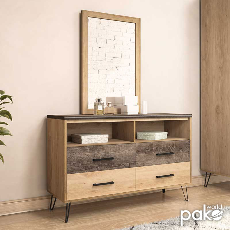 Console - dressing table Bruno pakoworld with mirror in viscount - toro 121x39,5x168,5cm