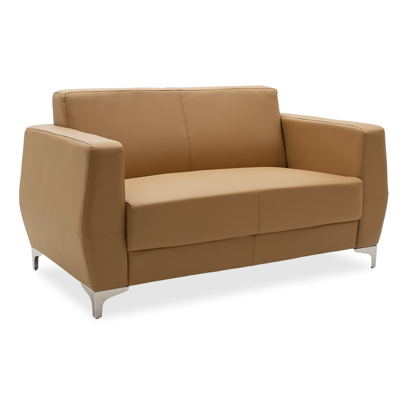 2seater sofa Dermis pakoworld inox with pu in tabac colour 138x75χ75cm