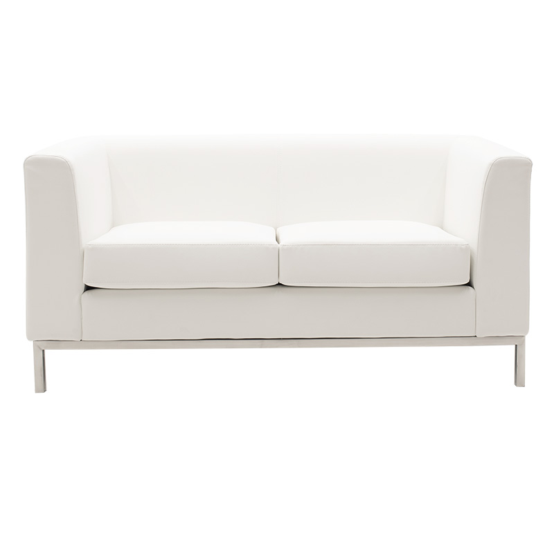 2seater sofa Professional pakoworld inox with pu in white colour 140x75x66cm