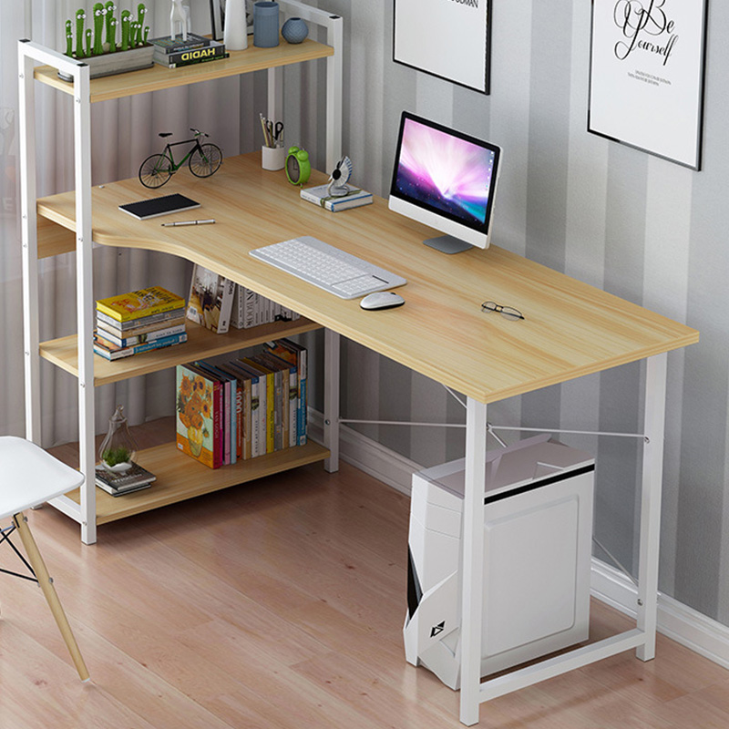 Metalic computer table Kadyn pakoworld left shelf oak-white 120x48x73,5 / 111cm