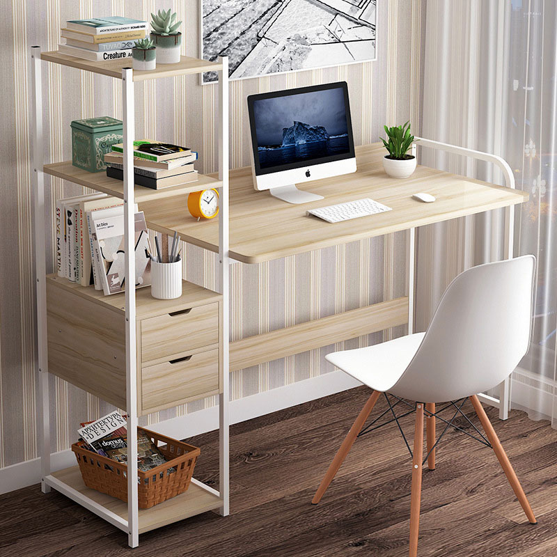 Metalic computer table Oban pakoworld left shelf oak-white 124x40x72/111cm