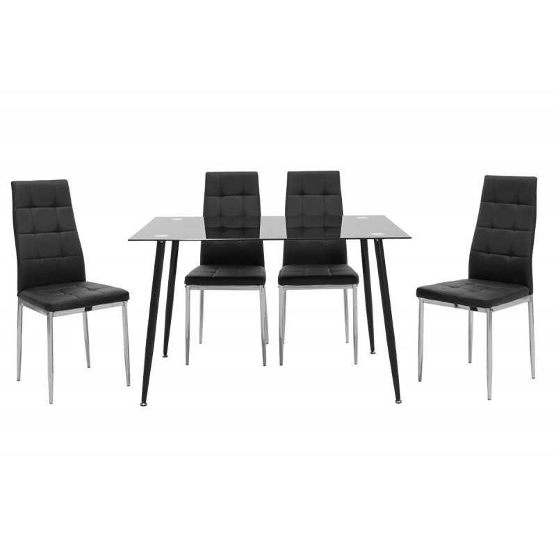 Dining table set 5pcs Vincenzo pakoworld with glass top in black-chair black pu 120x80x75cm